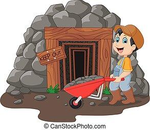 Cartoon mine entrance with gold miner holding shovel - ...