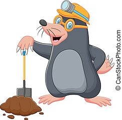 Cartoon mole holding shovel - Vector illustration of Cartoon...