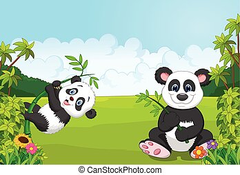 Cartoon mom and baby panda climbing