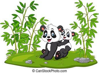 Cartoon mom and baby panda in the bamboo tree