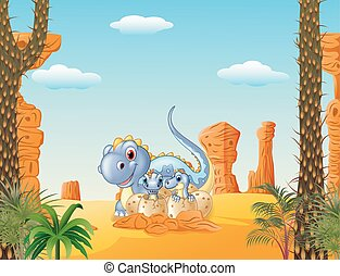 Cartoon mom dinosaur and baby