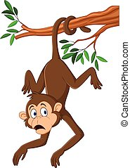 Cartoon monkey hanging on the tree branch with his tail