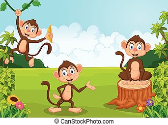 Cartoon monkey playing in the fores - Vector illustration of...