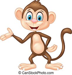 Cartoon monkey presenting - Vector illustration of Cartoon...