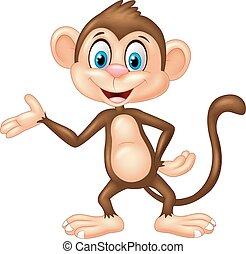 Cartoon monkey presenting - Vector illustration of Cartoon ...