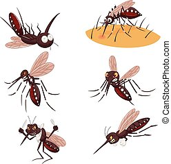 Cartoon mosquito collection set - Vector illustration of...