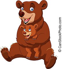 Cartoon mother and baby brown bear - Vector illustration of...