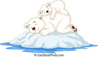 Cartoon mother and baby polar bear sleeping on ice floe