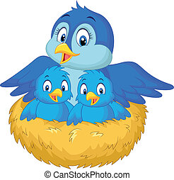 Cartoon Mother bird with her two ba