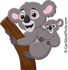Cartoon mother koala and baby on a tree branch