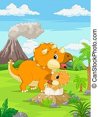 Cartoon Mother triceratops with baby hatching