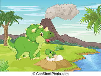 Cartoon Mother triceratops with bab - Vector illustration of...