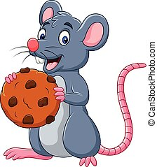 Cartoon mouse holding a cookie