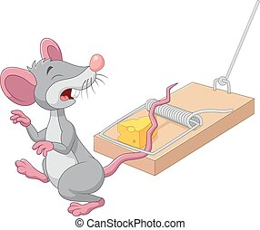 Cartoon mouse in a mousetrap - Vector illustration of...
