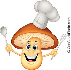 Cartoon mushroom chef - Vector illustration of Cartoon...