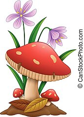 Cartoon mushroom isolated white background