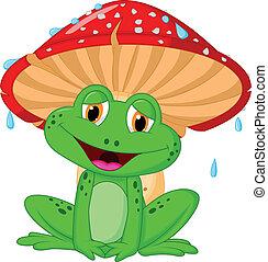 Cartoon mushroom with a toad - Vector illustration of ...