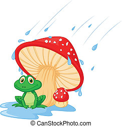 Cartoon mushroom with a toad