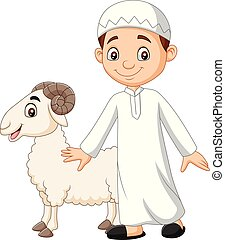 Cartoon Muslim boy holding a goat