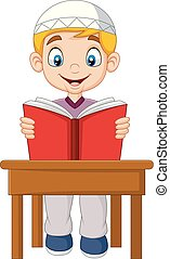 Cartoon Muslim boy reading a book