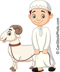 Cartoon Muslim boy with a goat
