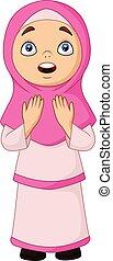 Cartoon Muslim girl praying for Allah - Vector illustration...