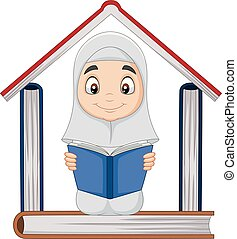 Cartoon Muslim girl reading a book with pile of books forming a house