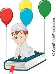 Cartoon Muslim schoolboy flying on a book