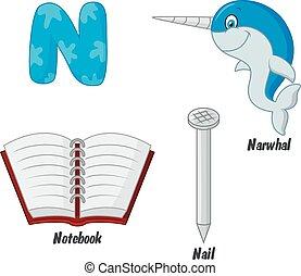 Cartoon N alphabet - Vector illustration of Cartoon N...