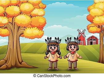 Cartoon native Indian American couple