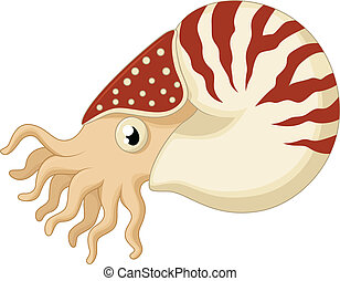 Cartoon nautilus - vector illustration of Cartoon nautilus