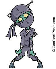 Ninja zombie - Vector illustration of Cartoon Ninja zombie