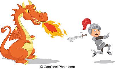 Cartoon of a knight running from a