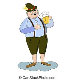 Vector illustration of cartoon oktoberfest man with beer.
