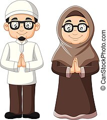 Cartoon old Muslim couple on white background