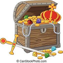 Cartoon Open Treasure Chest - Vector illustration of Cartoon...