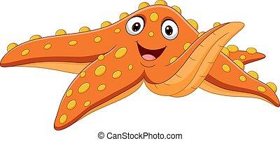 Cartoon orange starfish isolated on white background