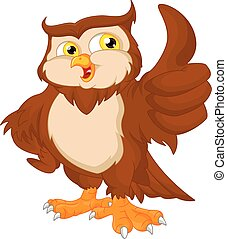 Cartoon owl bird thumb up