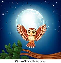 Cartoon owl flying in the night
