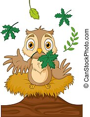 Cartoon owl in a nest on wood