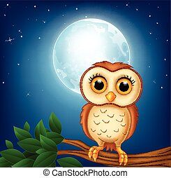 Cartoon owl on the tree branch