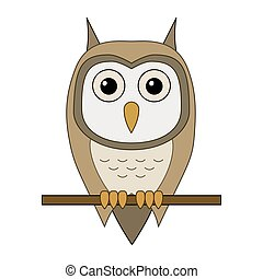 Vector illustration of cartoon owl sitting on a branch isolated
