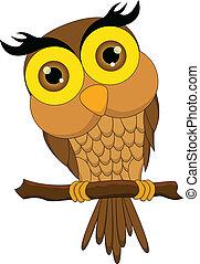 Cartoon owl sitting on tree branch