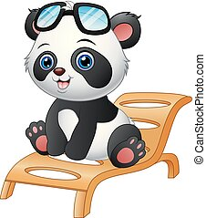 Cartoon panda bear sitting on deck chair isolated on white background