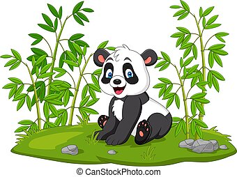 Cartoon panda in the bamboo tree