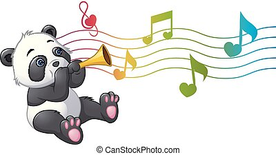 Cartoon Panda playing a trumpet - Vector illustration of...