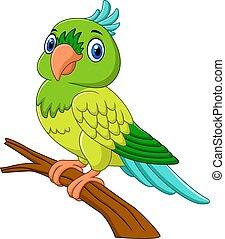 Cartoon parrot on tree branch