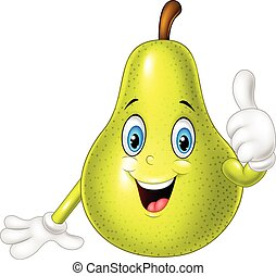 Vector illustration of Cartoon pear giving thumbs up