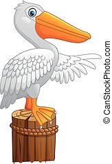 Cartoon Pelican in the bay