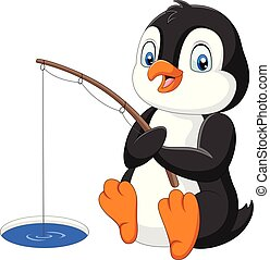 Cartoon Penguin fishing on the arctic ice